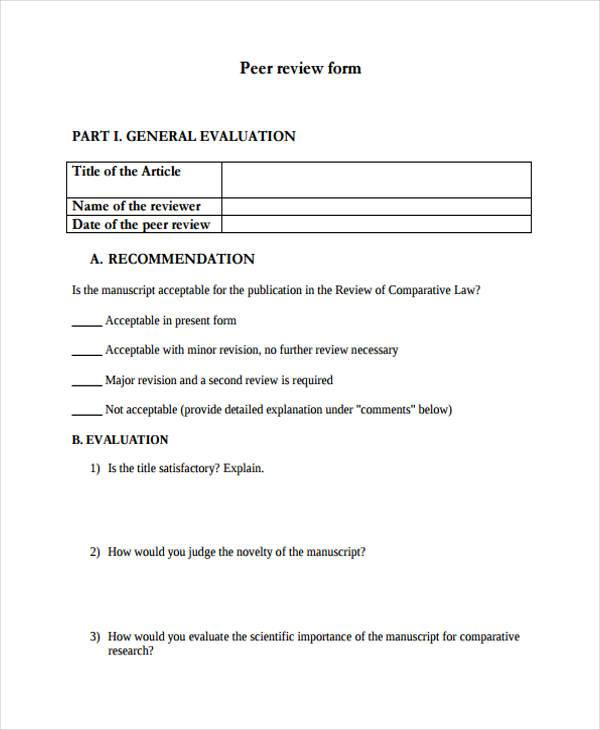Fine Peer Review Form Template Gallery  Example Business Resume