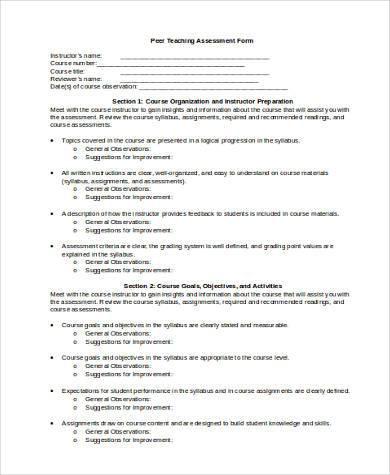 peer teaching assessment form