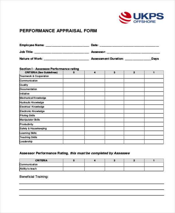 28 Sample Appraisal Formats Free Sample Example Format Download – Performance Appraisal Form Format