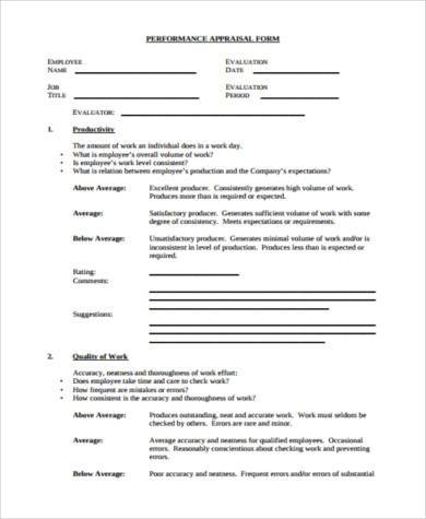 performance appraisal form for executive