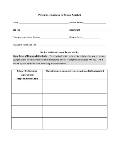 performance appraisal form for personal assistant in word