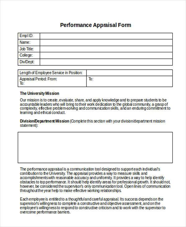 Appraisal Forms In Doc