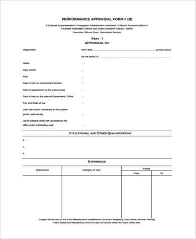 performance appraisal report form