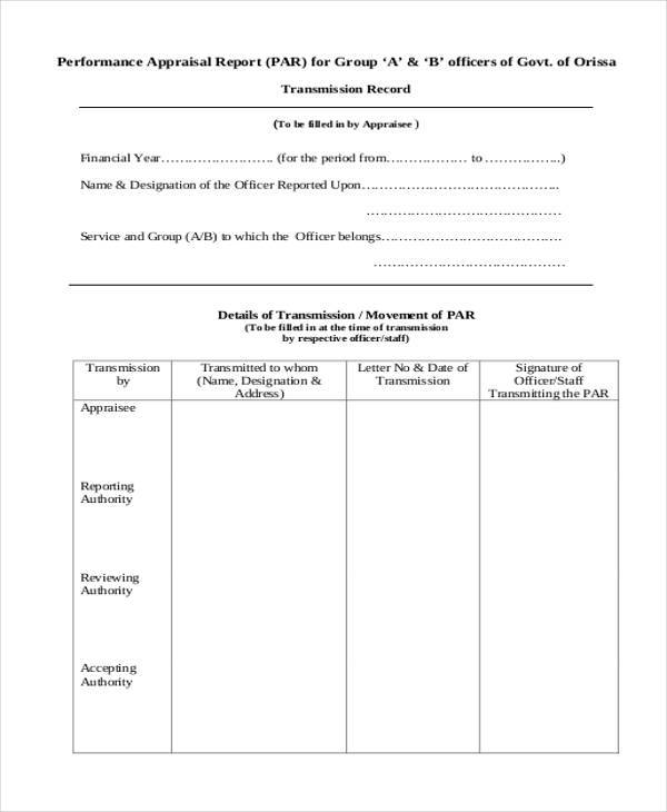 performance appraisal report format