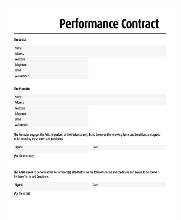 Sample Performance Contract Form - Free Documents In Word, Pdf