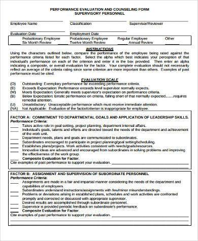 performance counseling form example