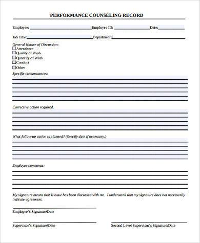 performance counseling record form