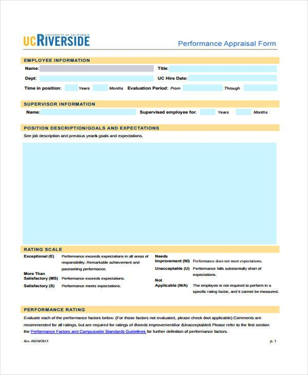 performance employment appraisal form