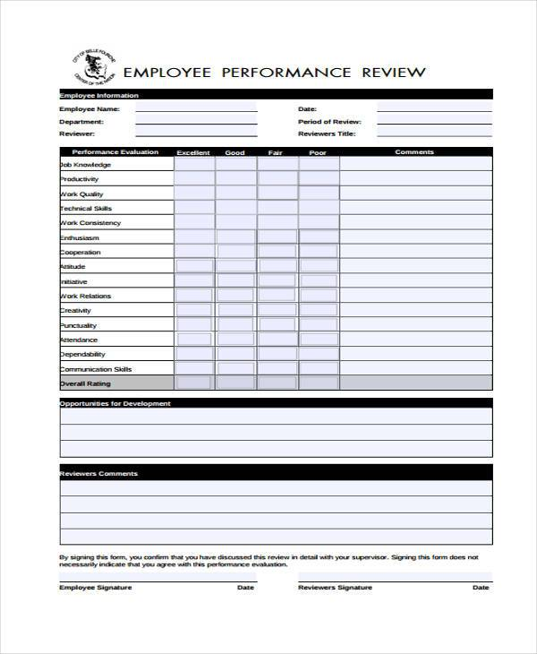 9 Performance Evaluation Form Samples Free Sample Example – Performance Evaluation Sample