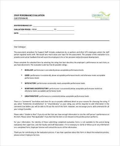 performance evaluation survey form