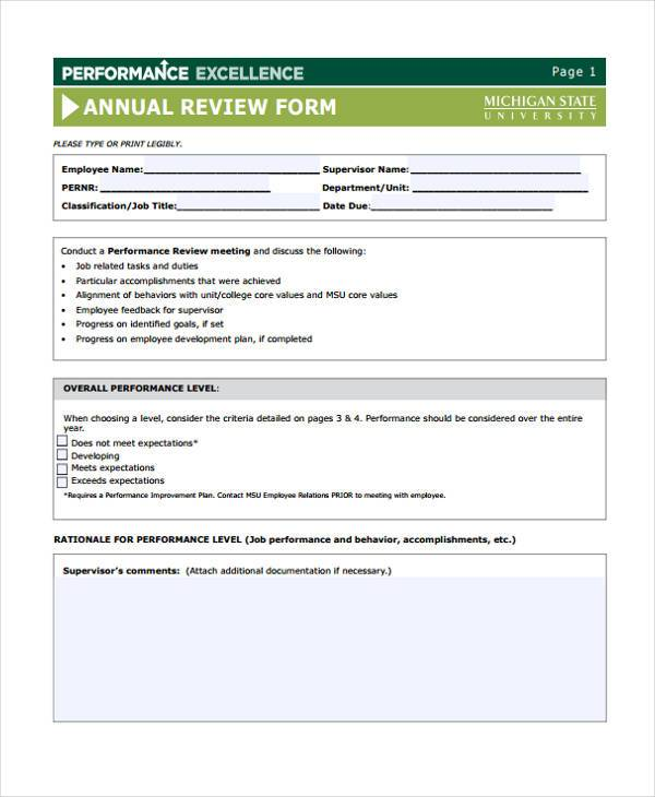 performance excellence annual review form