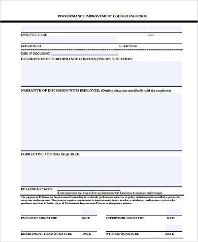 performance improvement counseling form