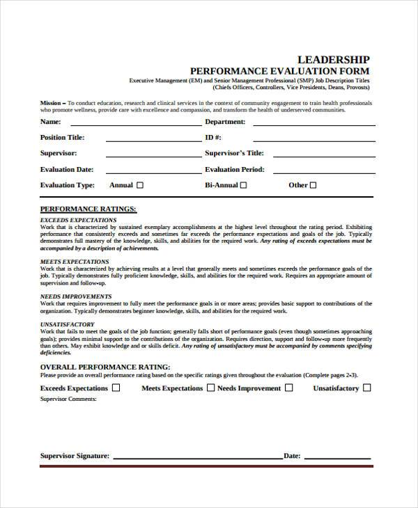 Leadership Evaluation Form Samples  Free Sample Example Format