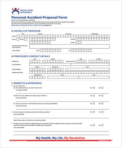 personal accident proposal form