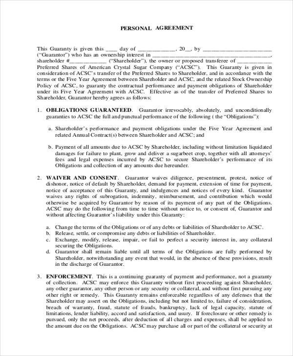 personal agreement form example