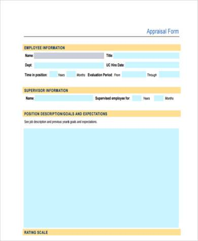 personal appraisal form example