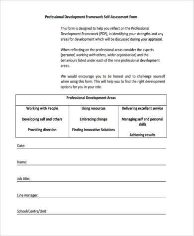 personal development assessment form