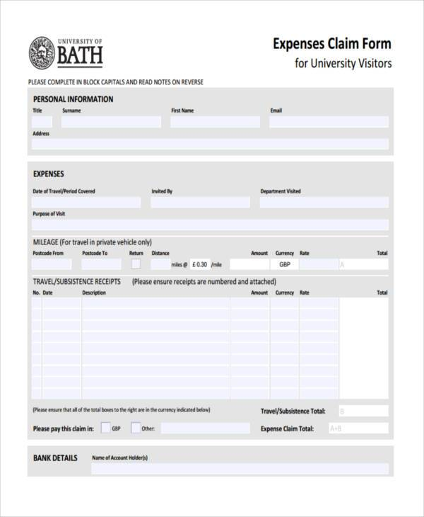 personal expense claim form