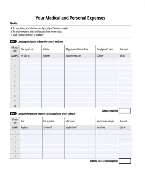 personal expense form example