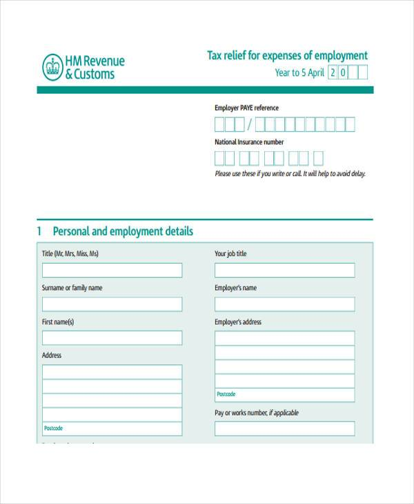 personal expense tax form