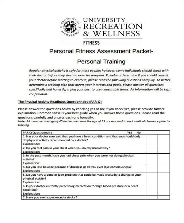 Fitness Assessment Form Physical Fitness Assessment Form Physical