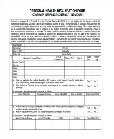 personal health declaration form1