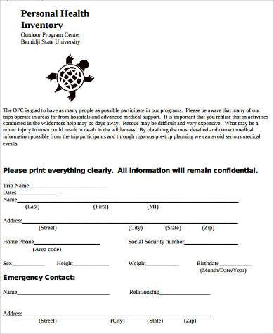 personal health inventory form