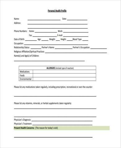personal health profile form
