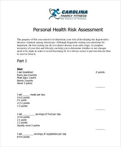 personal health risk assessment form1