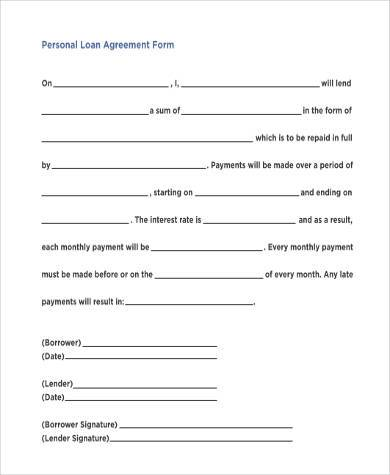 personal loan agreement form1