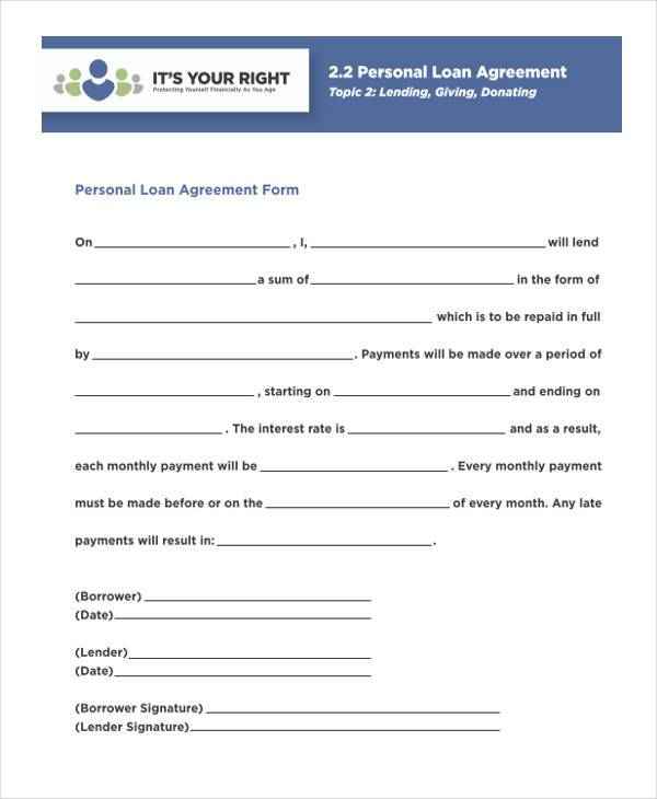 Personal Agreement Form Samples - 9+ Free Documents In Pdf