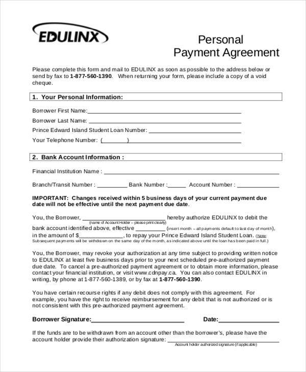 personal property agreement form