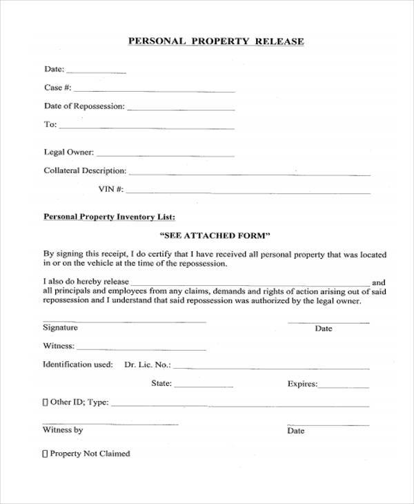 Property Release Form Samples  Free Sample Example Format