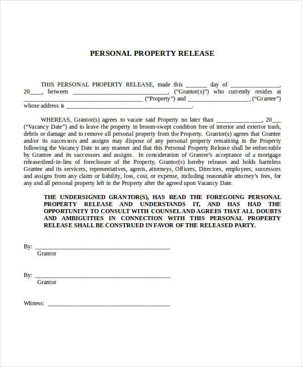Sample Release Forms in Doc – Property Release Form