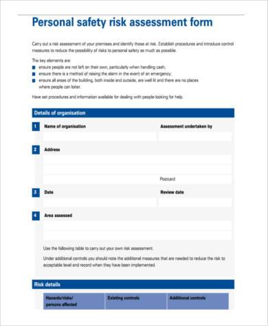personal risk assessment form