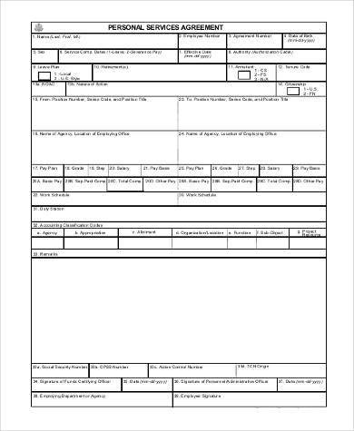personal service agreement form1