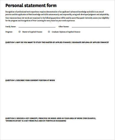 Sample Personal Statement Forms   Free Documents In Word Pdf