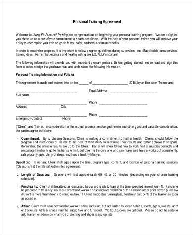 Sample training agreement forms 10 free documents in for Personal trainer contract templates