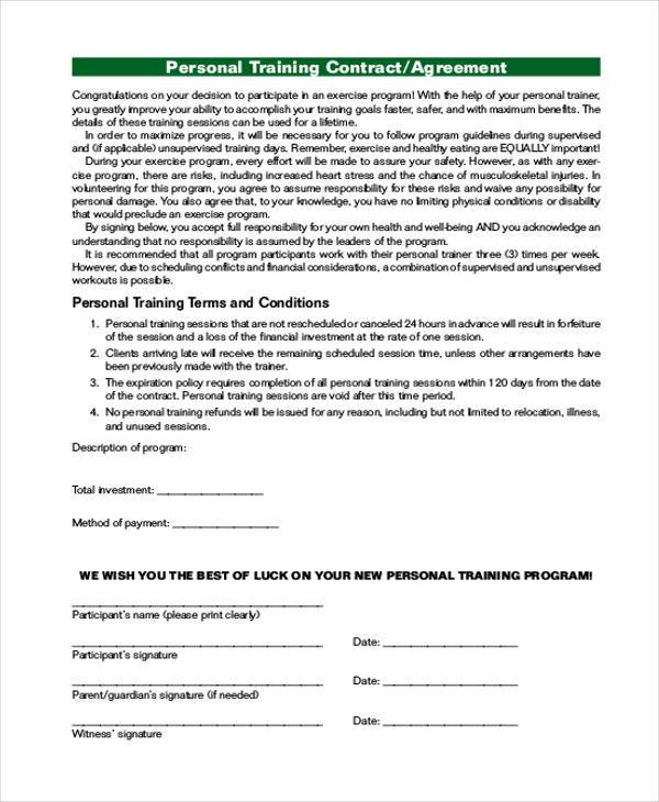 Personal Agreement Form Samples   Free Documents In Pdf