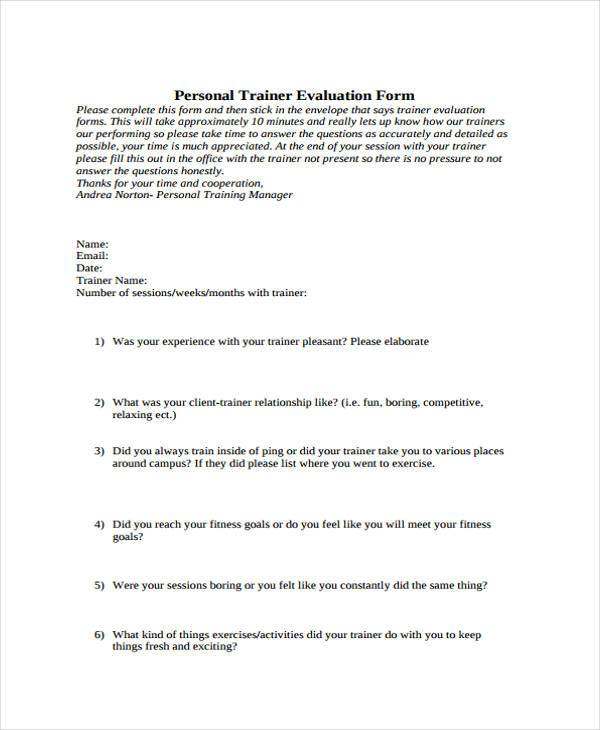 personal training evaluation form