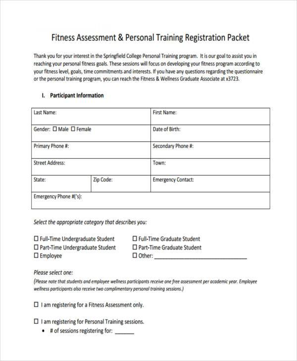 Fitness Assessment Form Samples  Free Sample Example Format