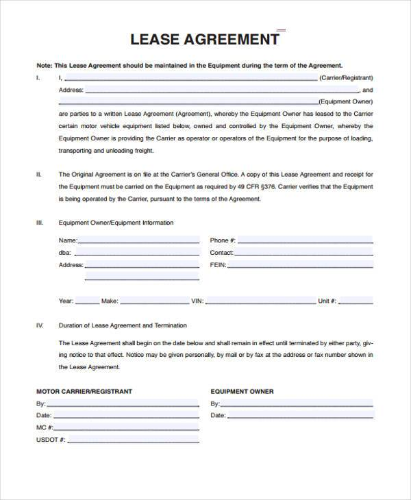 Sample truck lease agreements 9 free documents in word pdf for Vehicle sublease agreement template