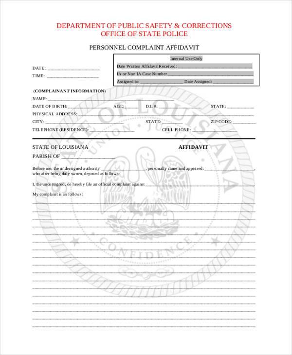 personnel complaint affidavit form