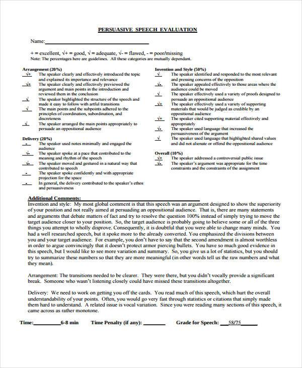 persuasive speech evaluation form