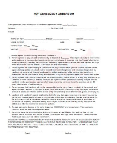 pet agreement addendum form2