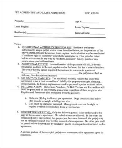 pet agreement lease form