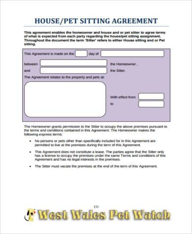 pet sitting agreement form