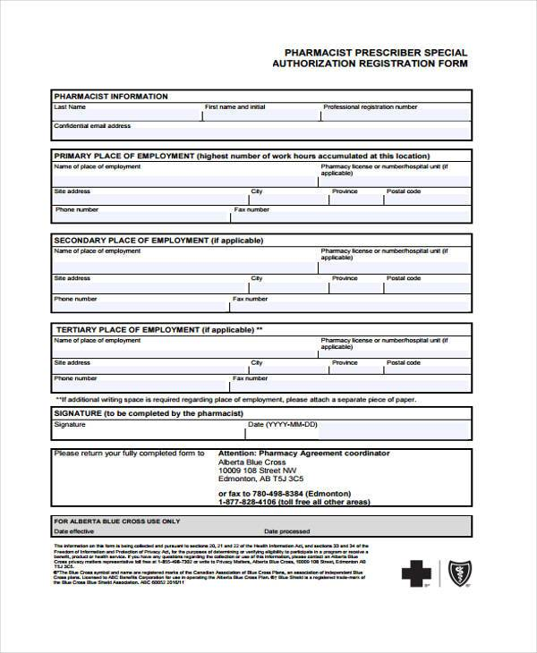 pharmacist authorization registration form
