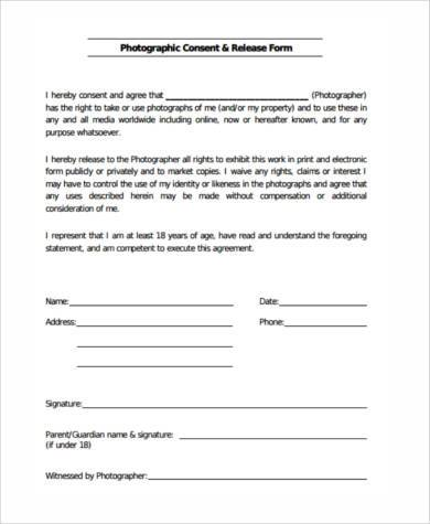 photo release agreement form1