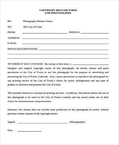 Photographer Release Form Samples   Free Documents In Word Pdf